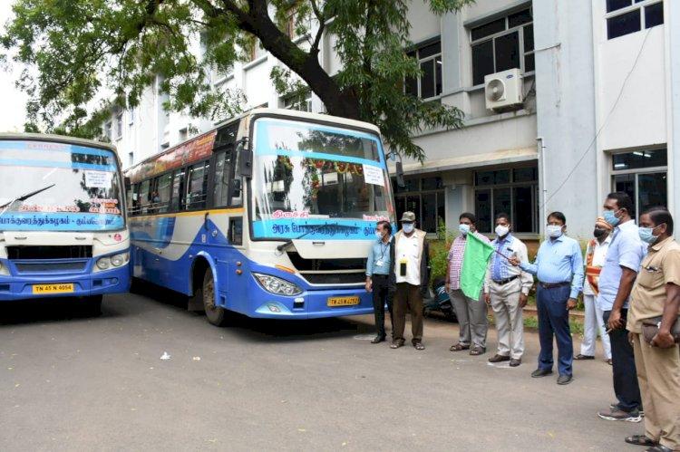 கடலோர மாவட்டங்களுக்கு திருச்சியில் இருந்து 100 சுகாதார பணியாளர்கள் மற்றும் 4 லாரிகள் அனுப்பி வைப்பு